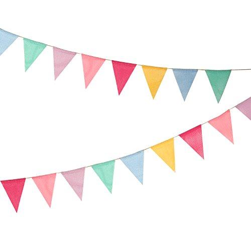 Hicarer Banderas DE 12 Multicolor Banderines de Tela Banderines de Arpillera de Imitación Banderas de Triángulo para Decoración de Fiesta