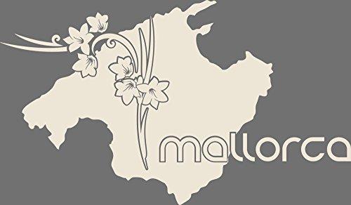 GRAZDesign 630298_50_816 Wandtattoo Wohnzimmer Sticker Mallorca Länder Insel Karte Umriss Blumen Erde (86x50cm//816 Antique White)