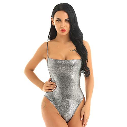 FEESHOW Damen Bodysuit Glänzende Body Einteiler Rückenfrei Silber metallic Dessous Overall Spaghettiträger mit Druckknöpfe Clubwear Party Silber Medium