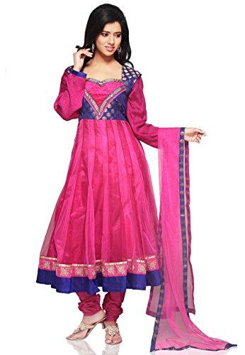 Utsav Fashion Embroidered Net Anarkali Suit in Fuchsia Colour