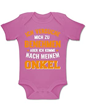 Shirtracer Sprüche Baby - Ich versuche Mich zu benehmen Aber ich komme nach Meinem Onkel orange - Baby Body Kurzarm...