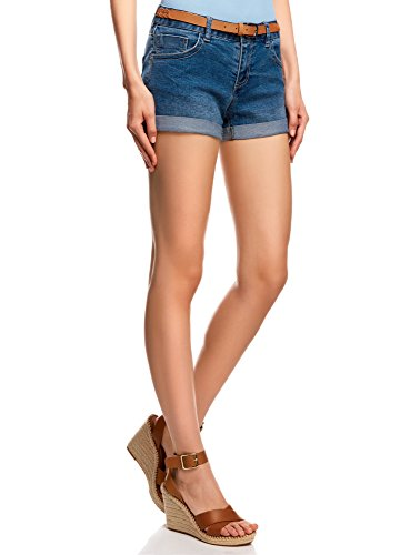 oodji Ultra Damen Jeansshorts mit Gürtel, Blau, DE 38 / EU 40 / M