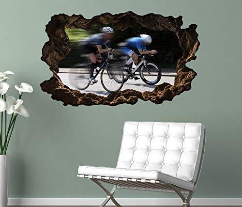 3D Wandtattoo Rennrad fahren Straße Fahrrad tour selbstklebend Wandbild Tattoo Wohnzimmer Wand Aufkleber 11L2180, Wandbild Größe F:ca. 162cmx97cm