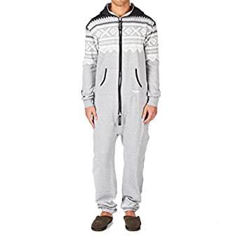 OnePiece Unisex Marius Relaxed Long Sleeve Onesie, Multicoloured (Grey/White/Black), X-Small