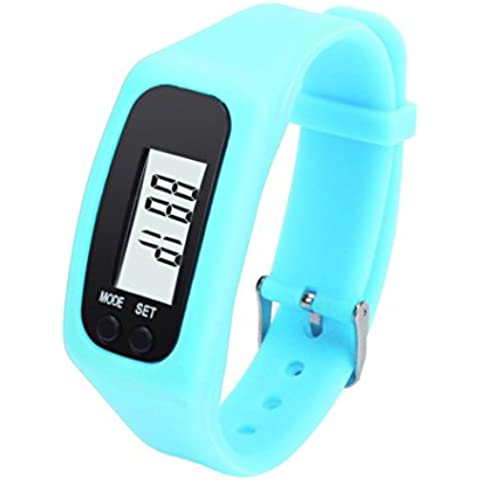 Amlaiworld LED Watch ,Unisex Pedometro digitale LCD Passo Esegui Walking Distanza Orologio Da Polso Calorie Counter (Cielo blu)