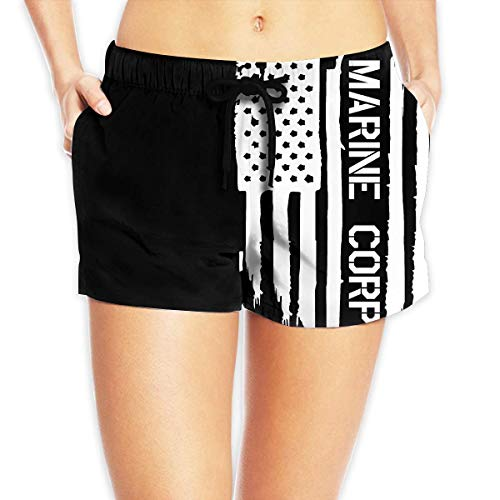 ZKHTO American Flag USMC Marine Corps Womens Summer Beach Shorts Beach Board Shorts,Size:XL (Tattoo Corp Marine)