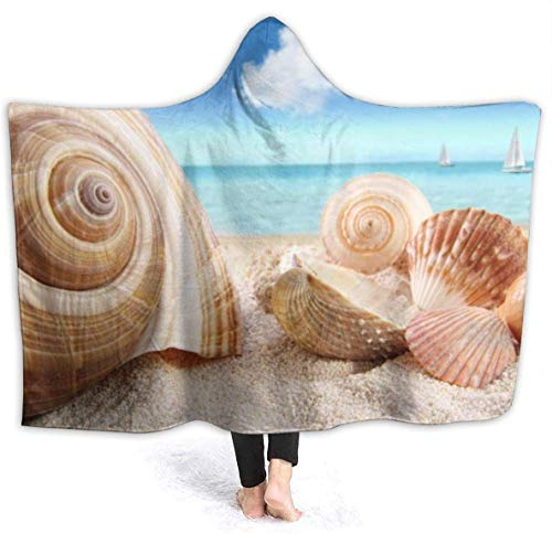 """Beach Shell Womens Hooded Blanket Superweiche Flanelldecke Hoodie Tragbare Decke mit Kapuze Robe mit Kapuze Mantel für Bademantel 80""""x60"""""""