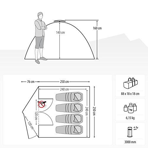 4 Mann Sekundenzelt Qeedo Quick Maple 4, Campingzelt mit Quick Up System, Innenhöhe: 140 cm - Grün - 2