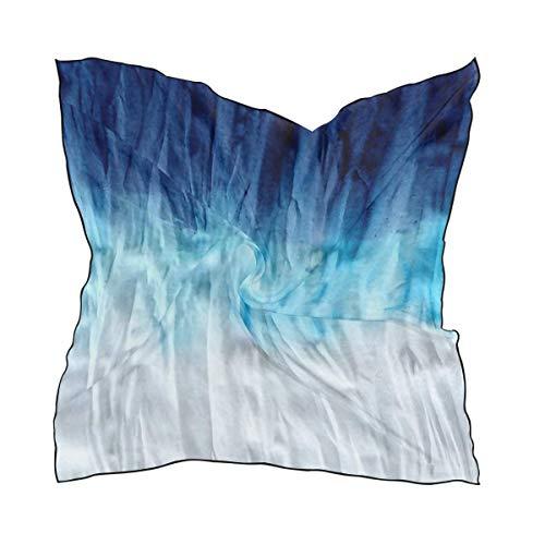 Quadratischer Schal Blue Tie Dye Weicher, atmungsaktiver Halstuchhalstuch Digital bedrucktes Kopftuchstirnband