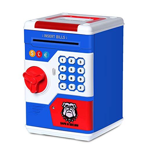 NUÜR Safe Piggy Bank für Jungen und Mädchen, elektronisches Passwort Geld Münze Bank Spielzeug mit automatischer Geldrolle, Geschenk für Weihnachten und Geburtstag - Junge Münze