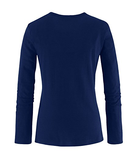 EZYshirt® Rock Hand Damen Longsleeve Navy/ Orange