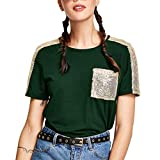 Damen Lässiger Kontrast Pailletten Tasche locker Kurze Ärmel Rundhals T-Shirt Tops