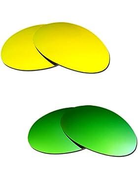 Hkuco Plus Mens Replacement Lenses For Oakley Romeo 1 24K Gold/Emerald Green Sunglasses