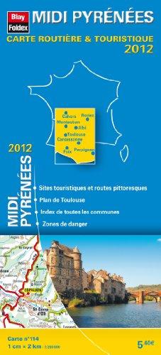 midi-pyrnes-carte-rgionale-routire-touristique-n-114-plan-du-centre-ville-de-toulouse-echelle-1-200-000-avec-index-edition-2012
