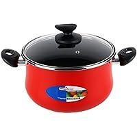 Magefesa Praga Cacerola 20 cm con Tapa, Antiadherente bicapa Reforzado, Color Rojo Exterior. Apta para Todo Tipo con cocinas, incluida inducción