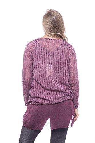 Abbino Thea 2356 Chemisiers Blouses Tops Femmes Filles - Fabriqué en Italie - 6 Couleurs - Été Automne Hiver Plaine Chemises Manches Longues Elegante Vintage Classique Sexy - Taille Unique (38-42) Rouge Bordeaux