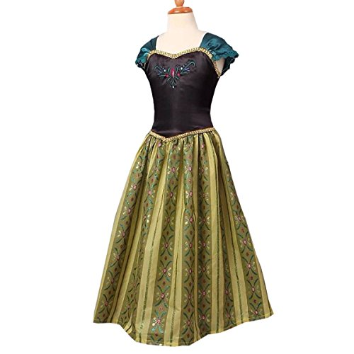 nihiug EIS Und Schnee Prinzessin Anna Kleid Disney Kleid Kostüme Halloween Kinder Kleidung Mädchen Kleid Leg Street,OnePieceOfDress-150cm (Disney-figur Halloween-kostüme Für Erwachsene)