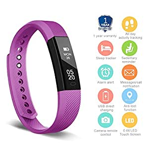 HolyHigh YG3 Fitness Tracker Band withno Heart Rate Monitor Smart Fitness Watch with Step Counter Calories Burned Sleep Monitor Facebook Whatsapp Call Alarm Notification (Purple)