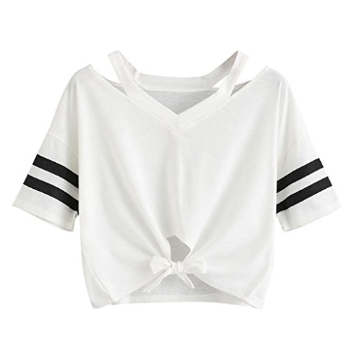 HARRYSTORE Woman Girl Knot Front Crop T-Shirt &Top Women Girls Short Sleeve Tee Short Crop Tops Casual Summer Loose T-Shirt Blouse White Sexy Waist