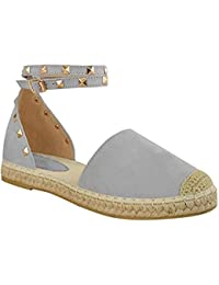b88c2019fc0 Fashion Thirsty Womens Ladies Espadrilles Ankle Strappy Flat Summer Sandals  Rock Stud Shoes Size