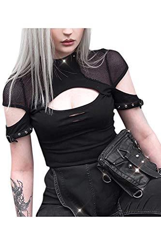 Camisetas Mujer Tops De Manga Corta Steampunk Punk Góticos Malla Abierta Busto Remache Negro M