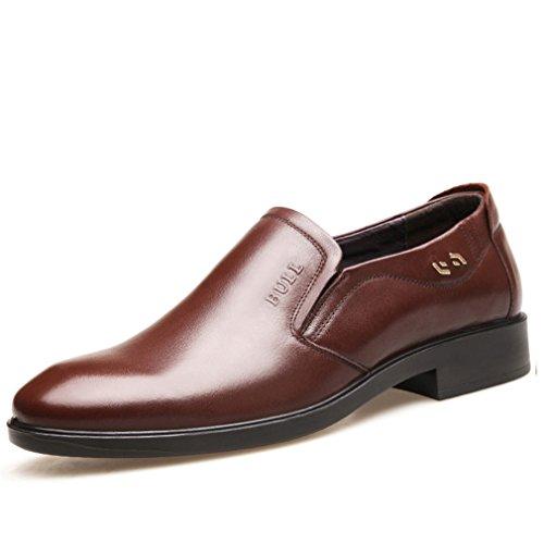 Hommes Chaussures en Cuir Souple Cire Chelsea Bout Pointu Talon Bloc Léger Respirent Loisir Derby Brun