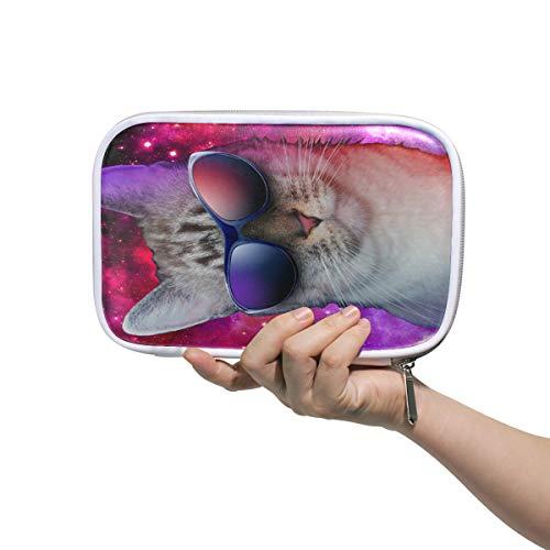 Katze mit Sonnenbrille im Weltraum Federmäppchen Stiftebeutel Schreibwaren Box Handtasche Reise Make-up Kosmetik Tasche Reisepasshalter Aufbewahrung für Frauen