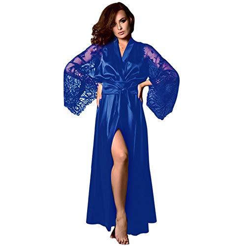 (Damen sexy Nachthemd Set Staresen Damen Langes Robe Dessous Satin Reizvolle elegant v-Ausschnitt Langarm Kleid Nachtwäsche Negligee für Frauen)