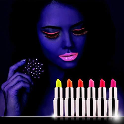 Frcolor 5pcs Labbro Luminoso Fluorescente Blacklight UV Lipstick per Performance sul palco