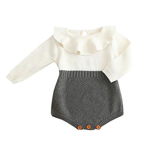 BeautyTop Kleinkind Neugeborenen Mädchen Baby Gestrickten Pullover Winter Warme Prinzessin Strampler Overall Kleidung Outfit (Grau, 60/0-3 ()