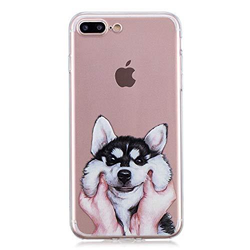 Funluna iPhone 8 Plus Custodia, iPhone 7 Plus Cover, Husky Disegni Transparent Silicone TPU Case Gel Ultra Thin Protettivo Bumper Custodia per Apple iPhone 8 Plus / 7 Plus