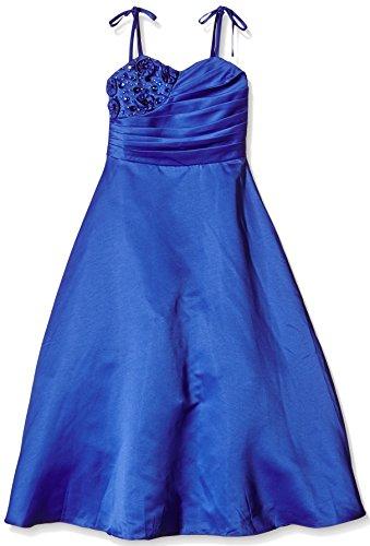 go2victoria Satin Brautjungfern Anlässe Festkleid Mädchen Kleid Königsblau Gr.128/134 (RB6002-8#)