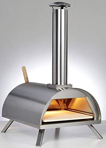 DaDa Freiluftküche Edelstahl Outdoor Pizzaofen mit Pizzastein, Isolierter Pizzabackofen, Premium Holzofen für den Garten