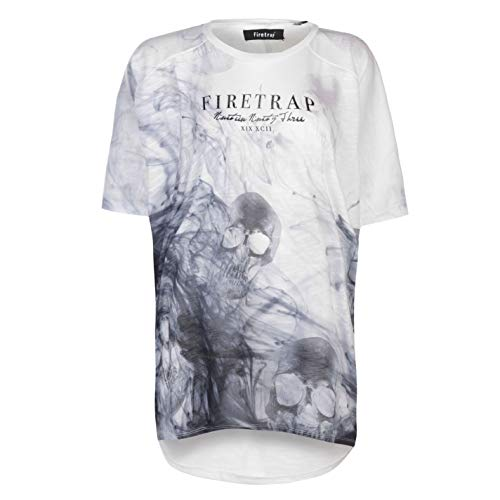 Firetrap Damen Lucy T Shirt Top Rundhals Kurzarm Grafik Weiß Schädel XS