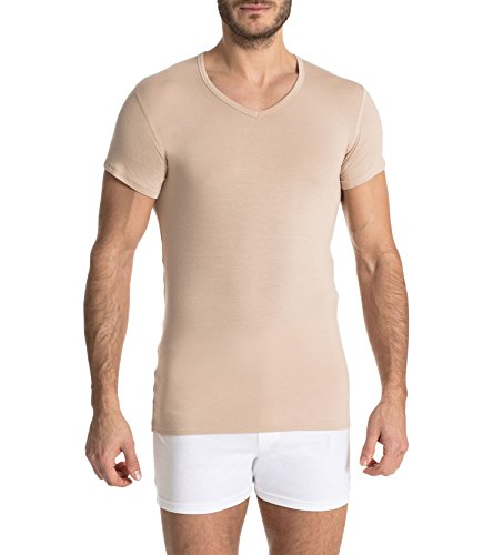 Finn Business Herren Unterhemd, Kurzarm mit V-Ausschnitt, T-Shirt aus Feinstem Micro-Modal Stoff | M, Hautfarben