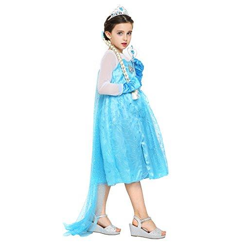 Imagen de katara  disfraz de la princesa elsa de frozen  vestido azul de la reina del hielo con tiara, guantes, trenza por el pelo y varita mágica para niñas de 4 5 años  ideal para navidad alternativa