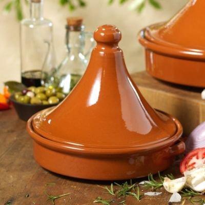 Tagine Terra Cotta Cookware (9 in tall x 10 in wide - serves 4) by La Tienda