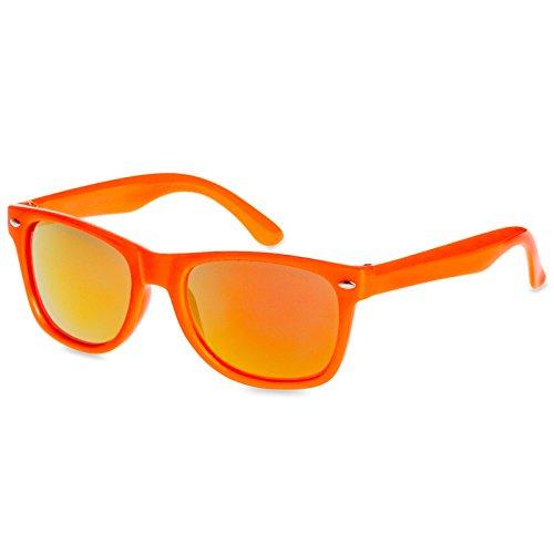 Caspar SG034 Kinder Retro Design Sonnenbrille mit 100% UV400 Schutz, Farbe:orange/gold verspiegelt