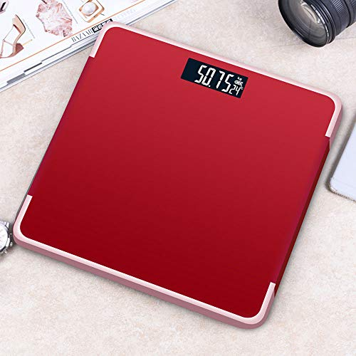AMY Körper-Renpho-Waage, 180 kg Präzise,   intelligente Personenwaage zur Messung des Körpergewichts (BMI) und der Muskelmasse (BMI),Red
