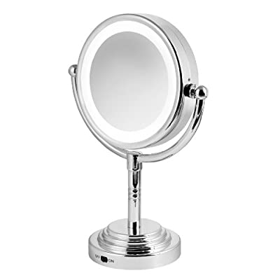 Carmen C85001 Battery Operated Dual Sided LED Lit Mirror - Silver