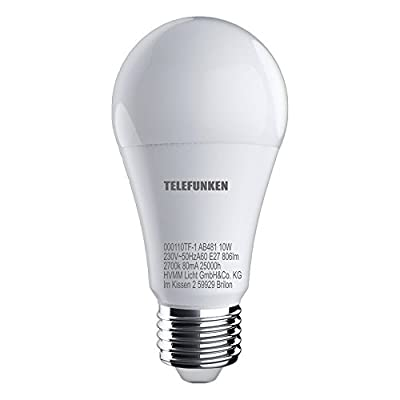 Telefunken – HD LED Lampe I E27 | Leuchtmittel 6er Set I warm weißes Licht I A+ I 10W I 806 Lumen I 2700 Kelvin I Ra>90 I 60x120mm (DxH) von HVMM LICHT GmbH & Co. KG