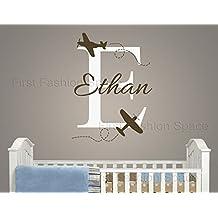 Adhesivo Pared Vivero Ethan con etiqueta personalizada nombre aviones avión hecho pared adhesivos para decoración de la habitación infantil decoración del hogar