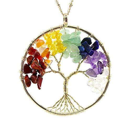 WANZIJING 7 Chakra Baum des Lebens Halskette, Regenbogen Edelstein Anhänger Draht gewickelt Anhänger Halskette mit Kette 26 '' für Frauen Mädchen,Gold (Draht-edelstein-baum)
