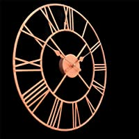 YJSMXYD Clock,Wall Clocks Large Rose Gold Skeleton Style Mirrored Wall Shabby Vintage Chic Roman Numerals Wall S 40Cm