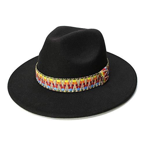 Hut, Spezielle Filzhut Männer Fedorahüte mit Gürtel Frauen Vintage Trilby Caps Wolle Fedora Warme Jazz Hüte Chapeau Femme feutre (Farbe : Schwarz, Größe : 56-58cm)