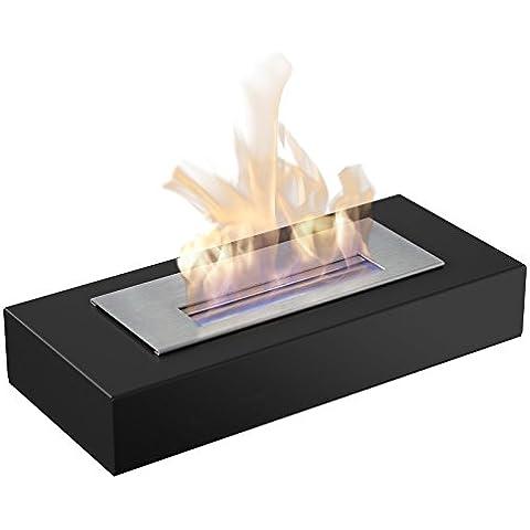 Chimenea de etanol chimenea modelo Max mesa con sistema seguro de iluminación, certificación TÜV y certificado, color: negro