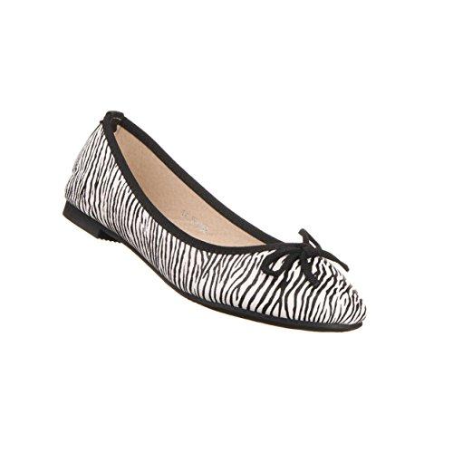 Damen Schuhe BALLERINAS ZEBRAOPTIK HALBSCHUHE Farben: Schwarz Weiß Größen: 36 37 38 39 40 41 Schwarz Weiß