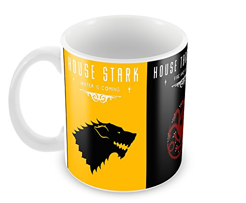 Creative Game of Thrones - House Lannister - Targaryen - Stark Ceramic Coffee Mug (350 ml, 11 oz, High Quality Glossy Print)  available at amazon for Rs.269