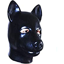 EXLATEX Latex Hood Animale Cane gomma Maschera feticistica accessori con chiusura a (Mens Nero Cervo)