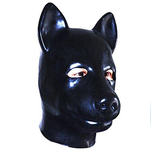 EXLATEX Latex Haube Hund Tier Gummi Maske Fetisch Zubeh?r mit Rei?verschluss